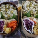 自家製鶏ハムと豆ごはん弁当とシャツベスト冷えとりコーデ。