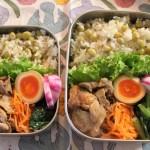 豆ごはんと豚肉おかか和え弁当と本日のコーデ。2015.11.2。