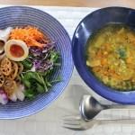 大麦とクミンシードスープのランチとsisiiのレザージャケットコーデ。