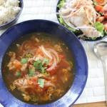 イッタラ ブルー祭り、トマトと牛肉のちょい辛スープとJohnstons シンプルコーデ。