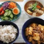 麻婆豆腐と豚汁で昼食と本日のスエット冷えとりコーデ。