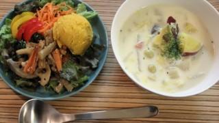 ほっこり豆乳スープとn100カシミアボーダーコーデ。