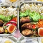 鶏ハンバーグ弁当とカーディガンシャツコーデ。2015.10.28。