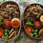 曲げわっぱで牛丼弁当とatelier naruseサロペット冷えとりコーデ。
