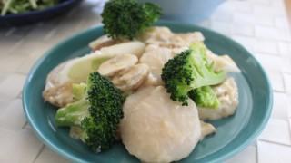 帆立のごまミルク昼食とドミンゴスキニーで冷えとりコーデ。