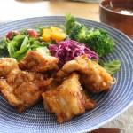 鶏のから揚げ昼食と春モノジャケット冷えとりコーデ。