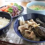 evameva春ジャケット冷えとりコーデと茄子と豚肉のしょうが煮昼食。