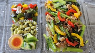 小松菜と豚肉の甘辛炒め弁当とヤブヤム冷えとりコーデ。
