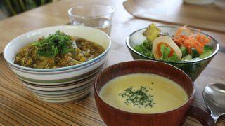 カレー丼で昼食とインバーアラン冷えとりファッション。