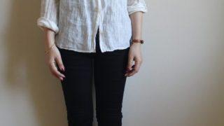 evam evaのリネンシャツ冷えとりファッション。